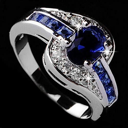 Monowi Fashion Women Ring Blue Sapphire White Gold Fil Engagement Jewelry Size 7 8 9   Model RNG - 6138   9