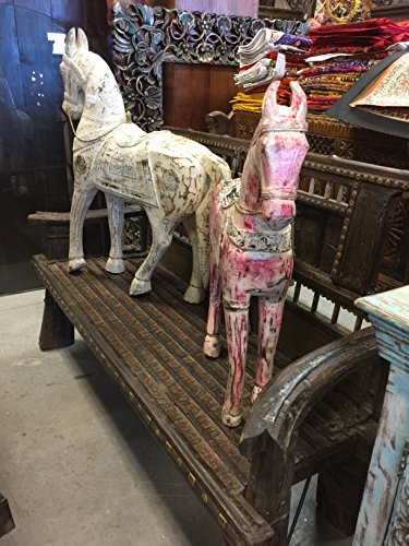 Mogulinterior Antique Wooden rocking horse painted white distressed shabby cottage chic Decor (Rocking Horse Cottage)