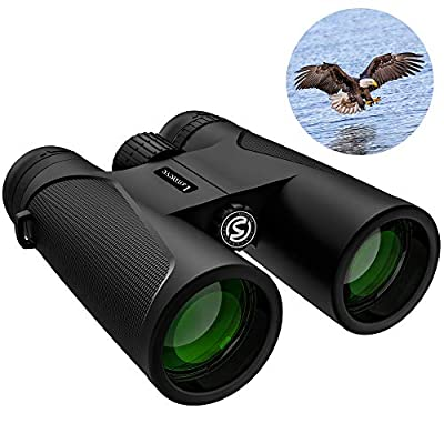 12x42 Roof Prism Binoculars for Adults, Compact HD Professional Binoculars for Bird Watching Hunting Concerts with Clear Weak Light Vision - BaK4 Prism FMC Lens with Phone Mount Strap Carrying Bag from LOMEVE