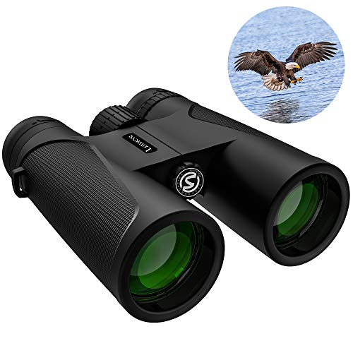 12x42 Roof Prism Binoculars for Adults, Compact HD Professional Binoculars for Bird Watching Hunting Concerts with Clear Weak Light Vision - BaK4 Prism FMC Lens with Phone Mount Strap Carrying Bag
