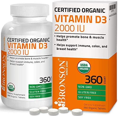 Vitamin D3 2000 IU Certified Organic Vitamin D Supplement, Non-GMO Gluten Free USDA Certified Formula, 360 Tablets