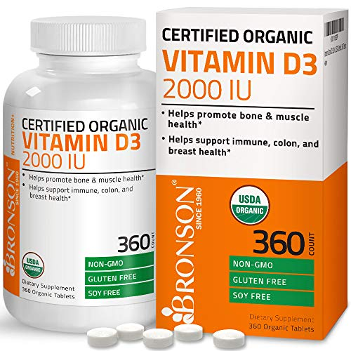 - Vitamin D3 2000 IU Certified Organic Vitamin D Supplement, Non-GMO Gluten Free USDA Certified Formula, 360 Tablets
