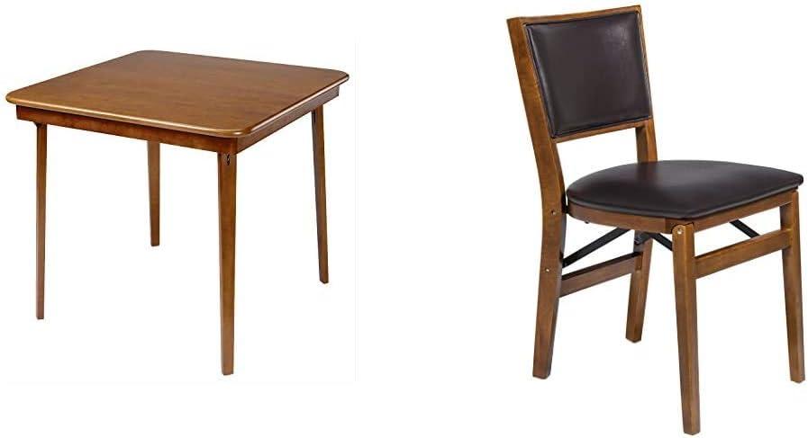 Stakmore Straight Edge Folding Card Table Finish, Fruitwood & Retro Upholstered Back Folding Chair Finish, Set of 2, Fruitwood