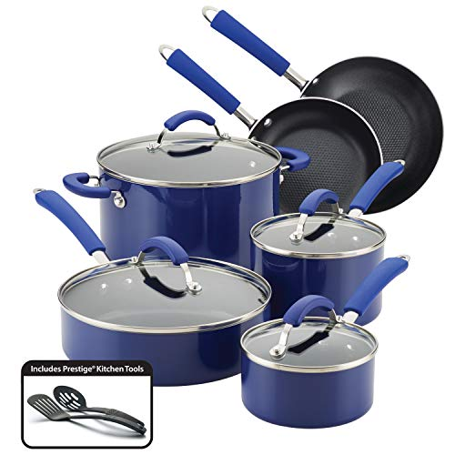 Farberware 10640 12-Piece Aluminum Cookware Set Blue