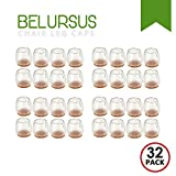 Belursus 32 Pack Chair Leg Caps Silicone Floor Protector Round Legs Furniture Table Pads Feet Covers