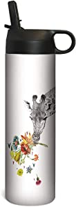 Tree-Free Greetings Sportiva Stainless Steel Tumbler Double-Walled and Vacuum Insulated Cup with Straw, 17 Ounce, Checking In Giraffe