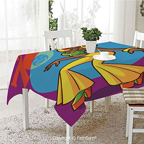 Party Decorations Tablecloth African American Woman Dancing at Disco Funky Fashion Smiling Face Decorative Dining Room Kitchen Rectangular Table Cover(W60 -
