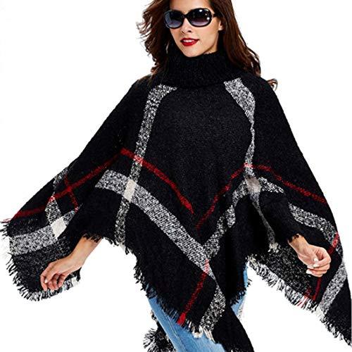 Qsky Women Winter warm wool Plaid Knitting Poncho fashion Batwing sleeve Wraps Sweater (BLACK) ()