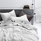 Black and White Duvet Covers Wake In Cloud - Grid Duvet Cover Set, 100% Cotton Bedding, Black Grid Geometric Modern Pattern Printed on White, with Zipper Closure (3pcs, Twin Size)