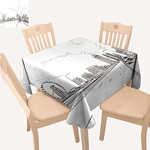 UHOO2018 Square/Rectangle Polyesters Tablecloth sapore sapore Flyer Unusual Perspective Drawn Sketch City Wedding Party,23 x 29inch -