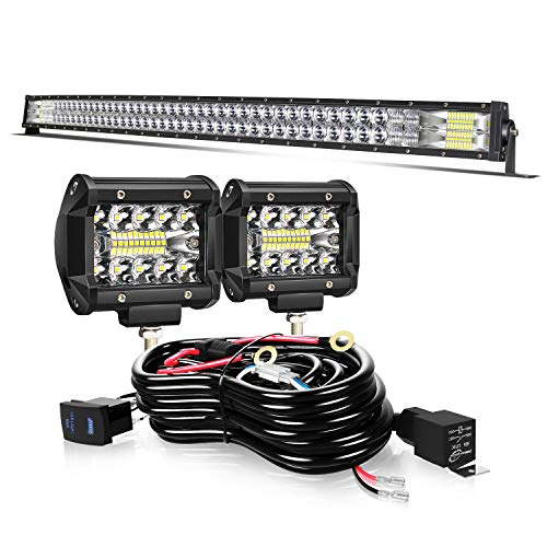 KEENAXIS 50Inch 288W Curved Led Light Bar Spot Flood Combo + 2Pcs 4Inch Led Pods Fog Lights + Wiring For Jeep Truck SUV Polaris Rzr Atv Golf Cart Boat,1 Year Warranty
