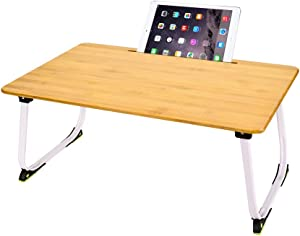 Hoteck Laptop Bed Tray Table,Bamboo Foldable Laptop Desk,Breakfast Tray for Eating, Notebook Computer Stand for Reading Writing on Sofa/Bed/Couch/Floor (X-Large)