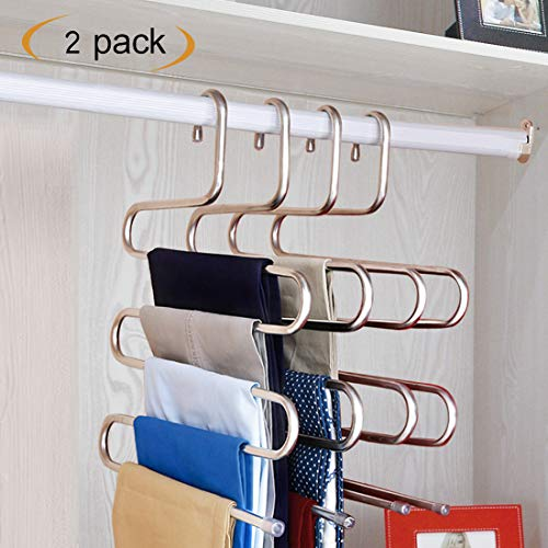 HonTop S-Type Multi-Purpose Pants Hangers Rack Stainless Steel Magic for Hanging Trousers Jeans Scarf Tie Clothes,Space Saving Storage Rack 5 Layers (2 Pcs)