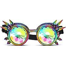 HIOFFER 3D Prism Rainbow Diffraction Rivet Kaleidoscope Network Steampunk Goggles EDM Party