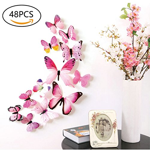 3D Butterfly Wall Stickers Decals – 48 PCS 3D Butterfly Removable Mural Stickers Wall Stickers Decal for Home and Room Decoration by FIXBODY- (Pink)