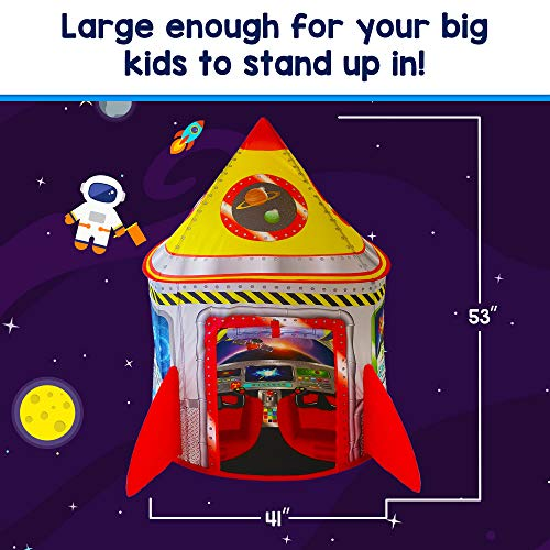 Playz 5-in-1 Rocket Ship Play Tent for Kids with Dart Board, Tic Tac Toe, Maze Game, & Immersive Floor – Indoor…