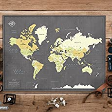 Amazon pin adventure map handmade travel map with pins poster various size color options personalized world gumiabroncs Image collections