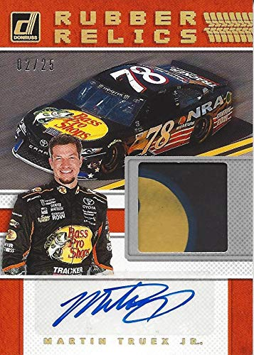 (AUTOGRAPHED Martin Truex Jr. 2018 Panini Donruss Racing RUBBER RELICS SIGNATURE (Race-Used Tire Auto) Bass Pro NRA Car Signed NASCAR Collectible Relic Trading Card with COA (#02 of only 25 produced!))