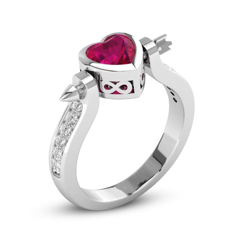 JAJAFOOK Womens Red CZ Love Heart Anchor Arrow Wedding Engagement Princess Rings Platinum Plated