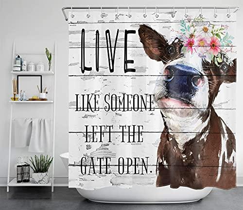 ECOTOB Cow Shower Curtain Cute Farm Animal Bathroom Decorative Curtain Funny Farmhouse Bathroom Curtain Rustic Grey…