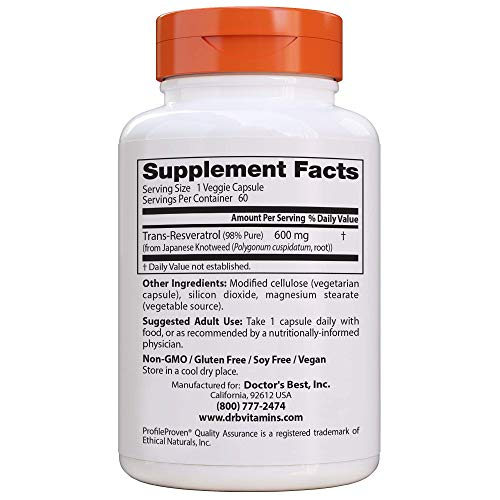 51hd4fuCWHL - Doctor's Best Trans-Resveratrol 600, Non-GMO, Vegan, Gluten Free, Soy Free, 600 mg, 60 Veggie Caps
