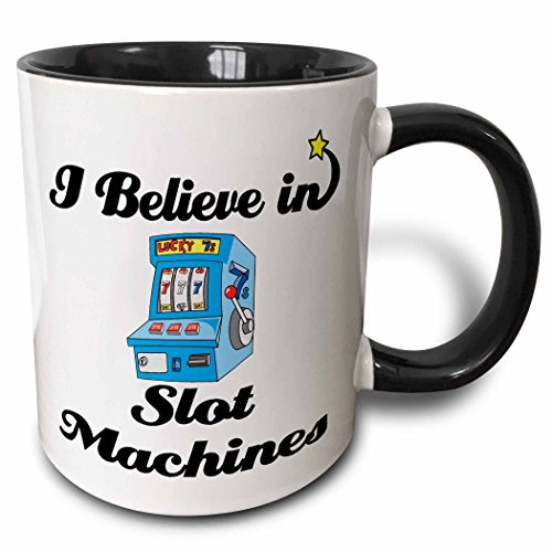 3dRose mug_105546_4 I Believe in Slot Machines Ceramic, 11 oz, Black/White