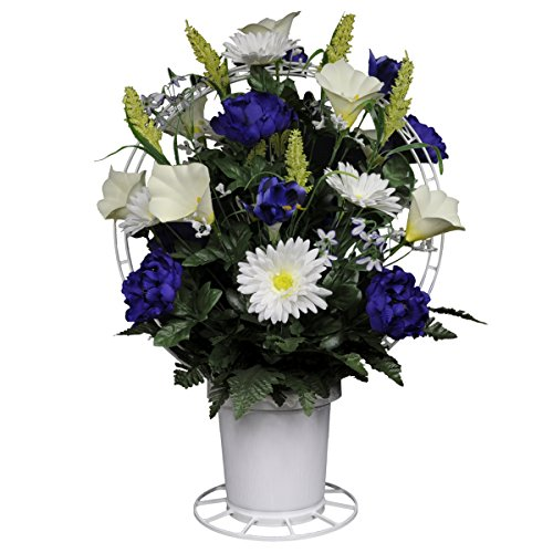 Lily Arrangement Basket (Sympathy Silks Purple Peonies and White Calla Lilies Silk Flower Basket (BA1567))