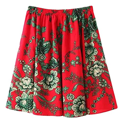 YuanDian Femme Ete Casual Boheme Retro Littrature Et Art Style Imprimee Fleur Lin Mini Jupe A-Line Loose Taille Elastique Fluide Jupe Courte Rouge Prunier Fleur