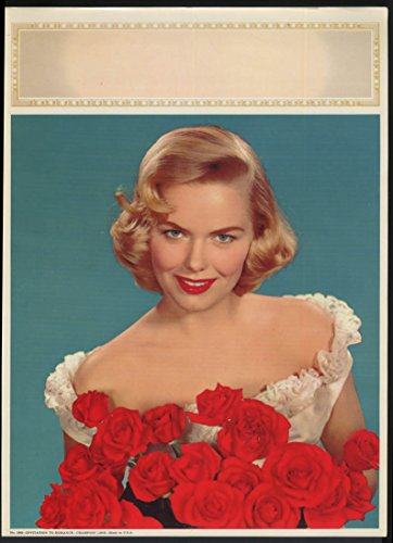 Invitation to Romance calendar blank 1950s blonde with roses