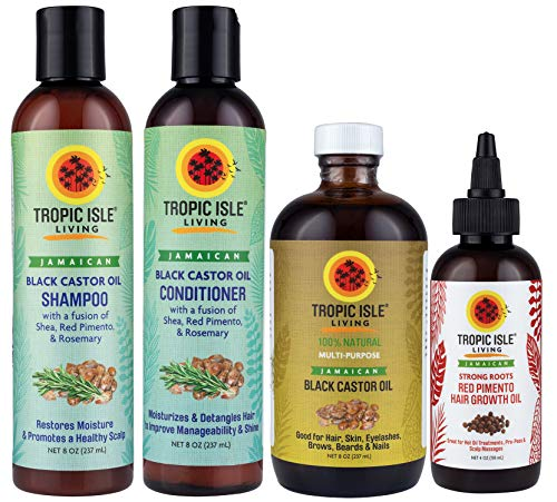 Tropic Isle Living Jamaican Black Castor Oil Shampoo + Conditioner + JBCO 8oz + Strong Roots