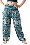 Bangkokpants Women's Yoga Clothing Elephant Pants US Size 0-12 (Green)