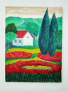 لوحة زيتية على قماش يدوي الصنع منظر طبيعي