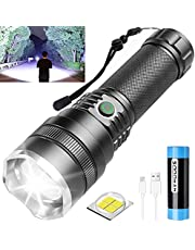 Tactical Flashlight Rechargeable, 10000 Lumen Super Bright Flashlight, Rechargeable flashlight with 21700 Battery, 4 Modes, Zoomable, Waterproof, Upgraded LED Flashlights for camping, Emergencies