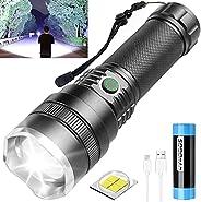 Tactical Flashlight Rechargeable, 10000 Lumen Super Bright Flashlight, Rechargeable flashlight with 21700 Batt