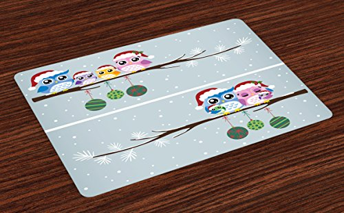 Ambesonne Christmas Place Mats, Owl Family on Tree Branch Celebration Holly Jolly Season New Year Winter Night, Washable Fabric Placemats for Dining Room Kitchen Table Decor, Multicolor ()