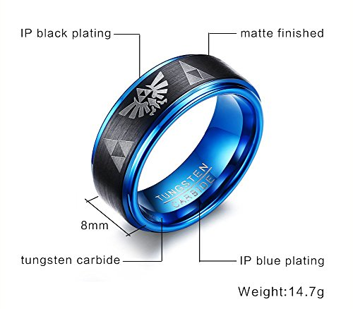 Tungsten Carbide Two-tone Blue Black Step Edge Legend of Zelda Triforce Ring Bands for Men Boy,size 7 by Mealguet Jewelry (Image #1)