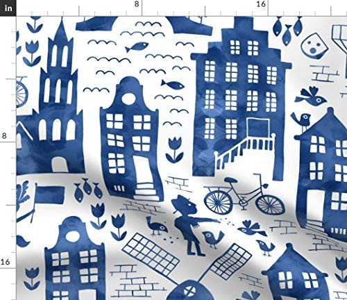Spoonflower Dutch Buildings Fabric - Travel Watercolor Europe Blue Netherlands Tulip Windmill Travel Folk by Heleen Vd Thillart Printed on Petal Signature Cotton Fabric by The Yard