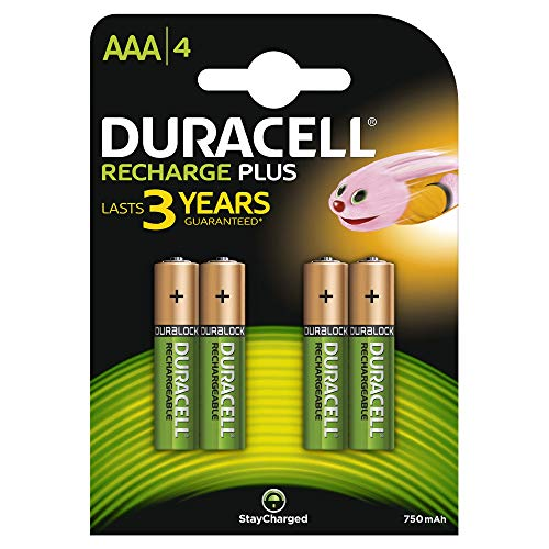 Duracell DC2400 Recharge Plus Type AAA Battery - 750mah, Pack of 4...