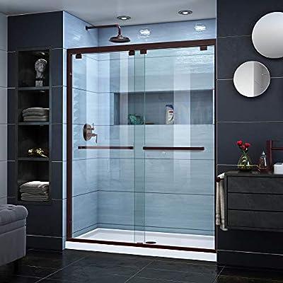DreamLine dl-7005 C-06 Encore 32 en. D x 60 en. W semi-frameless Bypass para mampara de ducha centro desagüe blanco acrílico base, bronce aceitado: Amazon.es: Bricolaje y herramientas