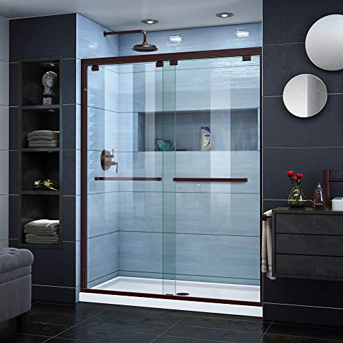 DreamLine Encore 50-54 in. W x 76 in. H Frameless Semi-Frameless Bypass Shower Door in Oil Rubbed Bronze, ()