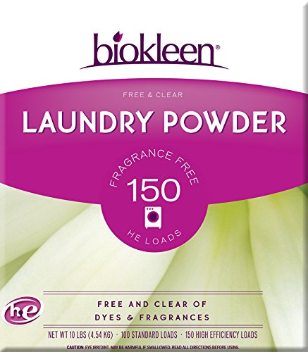 - Biokleen Laundry Detergent Powder, Concentrated, Eco-Friendly, Non-Toxic, Plant-Based, No Artificial Fragrance or Preservatives, Free & Clear, Unscented, 10 Pounds - 150 HE Loads/100 Standard Loads