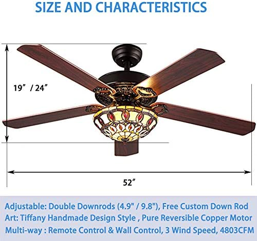 Andersonlight Fan Modern Ceiling Fan 5 Wood Blade