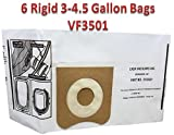 6 RIDGID 23738 VF3501 Wet Dry Vac High-Efficiency Dust Bags, Wet Dry Vacuum Filter Bags, 2 pks of 3 Dust Collection Bags per Package, by Casa Vacuums