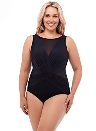 1c678f25135 Miraclesuit Women s Swimwear Plus Size Solid Palma Tummy Control Soft Cup  Bra One Piece Swimsuit
