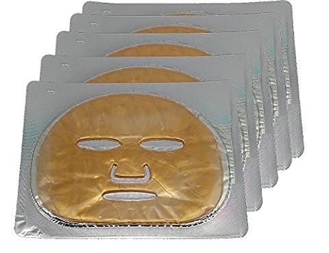 EMILYSTORES 5PCS 24K Gold Gel Collagen Facial Masks Sheet Patch Anti Ageing Puffiness Skincare Anti Wrinkle Moisturising, For Deep Tissue Rejuvenation, Spring Summer Cool - Face Sheet