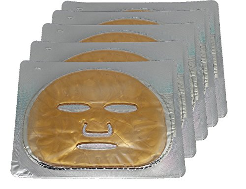 Golden Mask - EMILYSTORES 5PCS 24K Gold Gel Collagen Facial Masks Sheet Patch Anti Ageing Puffiness Skincare Anti Wrinkle Moisturising, For Deep Tissue Rejuvenation, Spring Summer Cool Feel