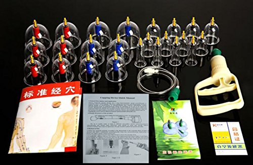 Glield 24pcs Cups Biomagnetic Chinese Cupping Therapy Set...