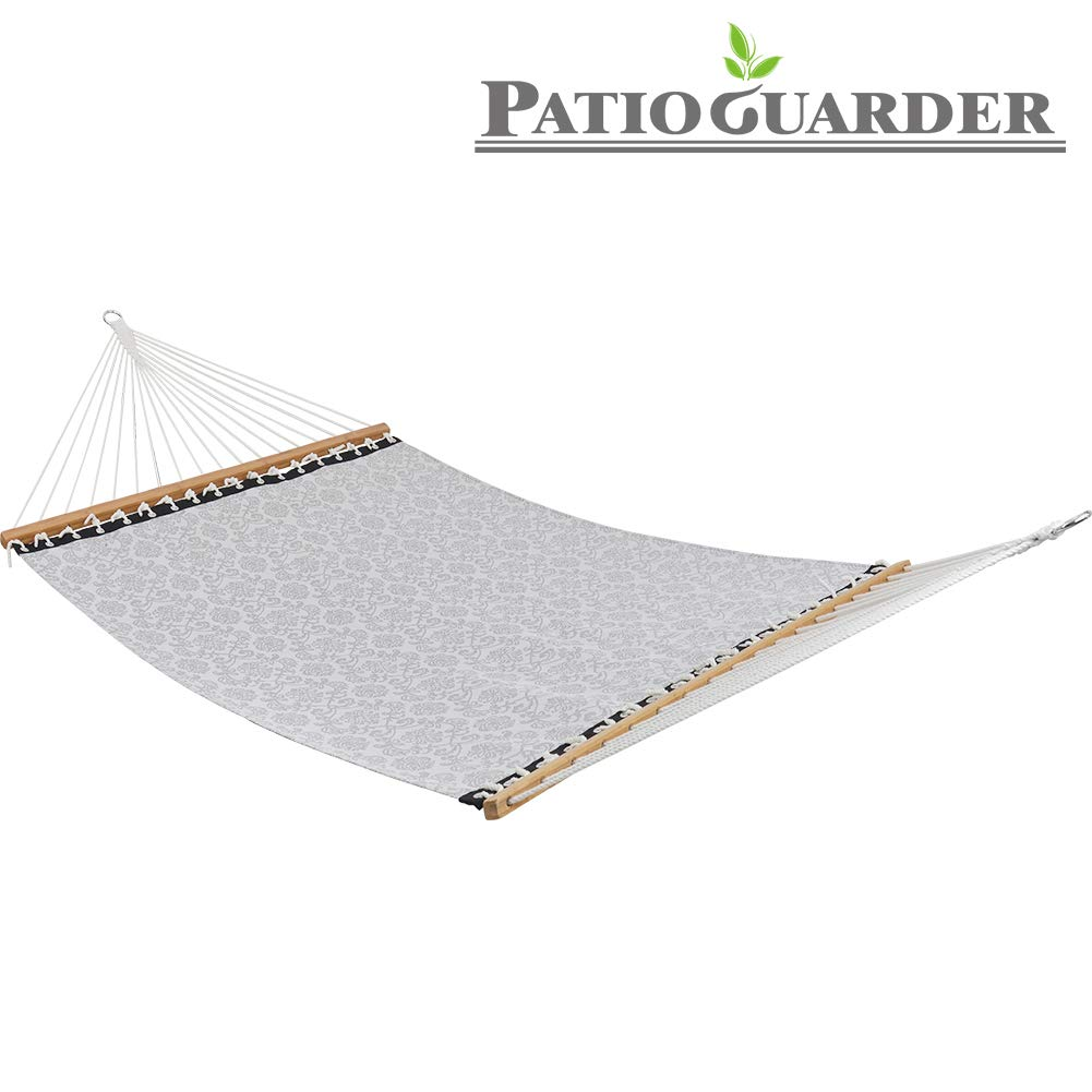 PATIO GUARDER 14 FT Portable Hammock with Double Size, Quick Dry Hammock with Solid Bamboo Spreader Bar and Chains, Outdoor Patio Yard Beach Hammock, UV Resistance, 450 Lb Capacity, Jacquard