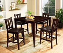 Furniture of America Marion 5-Piece Solid Wood Counter Height Dining Set, Walnut