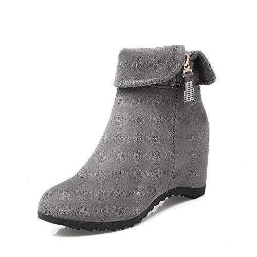 VogueZone009 Damen Mittler Absatz Gemischte Farbe Ziehen auf Blend-Materialien Rund Zehe Stiefel, Blau, 42
